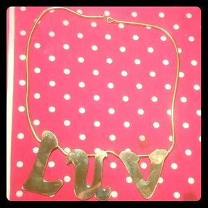 Vintage gold Plated necklace with luv charm